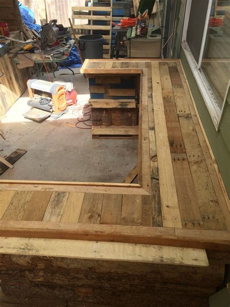 Weathered Kitchen Table Diy Pallet Made Counter With