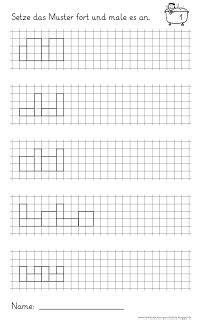 muster fortsetzen und anmalen mathe  klasse muster