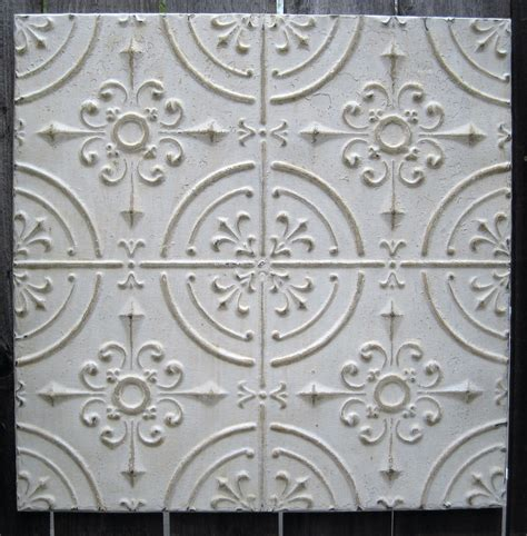 2 x2 antique ceiling tin tile circa 1910 white