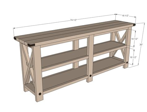 White Build A Rustic X Console Free And Easy Diy