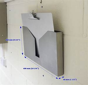 stainless steel wall mounted clipboard and file holder With wall mounted document display