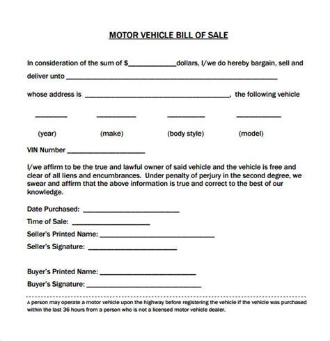 sample vehicle bill  sales   word