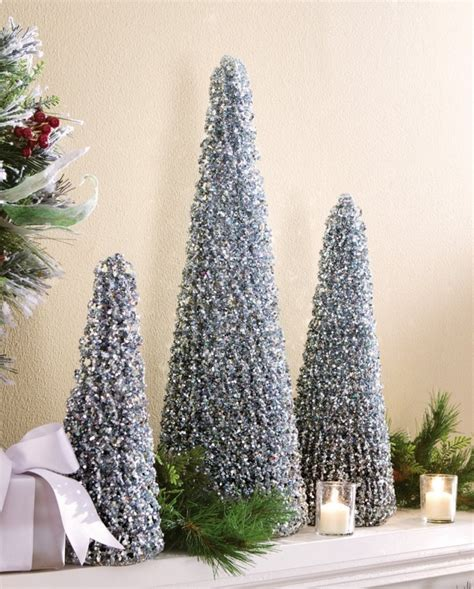 winter sparkling silver holiday cone trees christmas