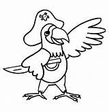 Parrot Coloring Cartoon Pirate Getdrawings sketch template