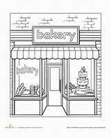 Bakery Coloring Town Worksheet Education Pages Places Paint Colouring Preschool Adult Sheets Drawing Worksheets Shops Take Books Printable Around Street sketch template