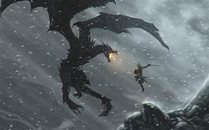 Dragons, The, Elder, Scrolls, V, Skyrim, Dovakiin, Black, Dragon, Warrior, Man, Wallpapers, Hd, Desktop, And