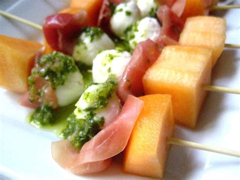 refreshing appetizer prosciutto  melon mozzarella