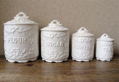 vintage canister set antique white  ornate details