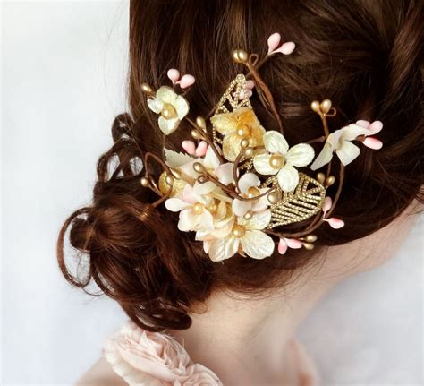 gold hair flower pink hair accessory bridal hair