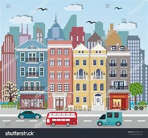 Street Landscape Cute European Buildings Shops Stock ...