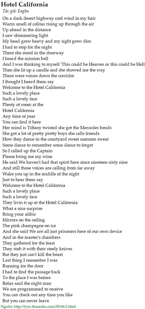 The Lyrics Of Hotel California
