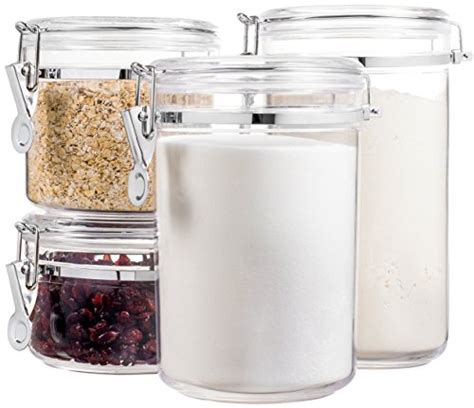 Food Canisters Kitchen by 4 Food Jars Canisters Airtight Acrylic Set