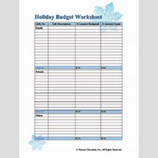 Holiday Budget Printable Familyeducation