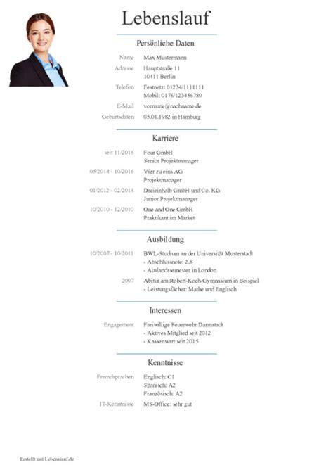 Lebenslauf Darstellung by Lebenslauf Vorlagen Muster Kostenloser Als Pdf