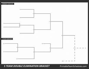 Printable 5 Team Double Elimination Bracket