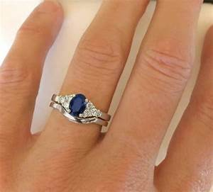 Sapphire diamond engagement ring with matching contoured for Sapphire engagement ring and wedding band set