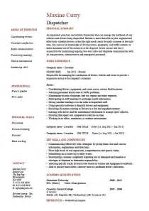 Truck Driver Resume Template Dispatcher Resume Driver Templates Description Exles Delivery Key Skills Dispatching
