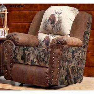 Camo deer recliner camo deer recliner rustic mancave for Sectional sofas for sale red deer