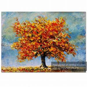 Special Designed Abstract Modern Autumn Trees Oil Painting ...