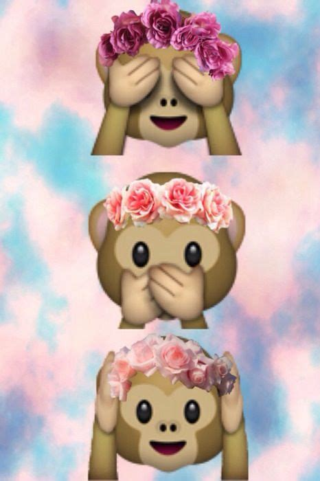 cute monkey emoji wit flower head band monkey flower