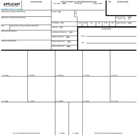 applicant fingerprint form fd  fbi