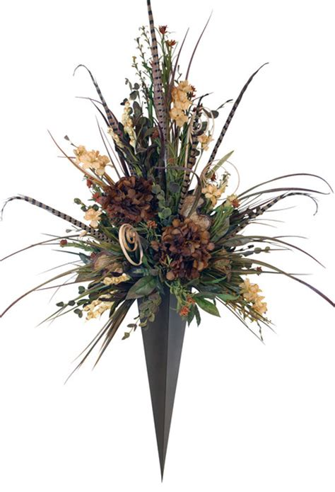 Wall Sconces For Plants by Floral Arrangement In Metal Vase Wall Sconce