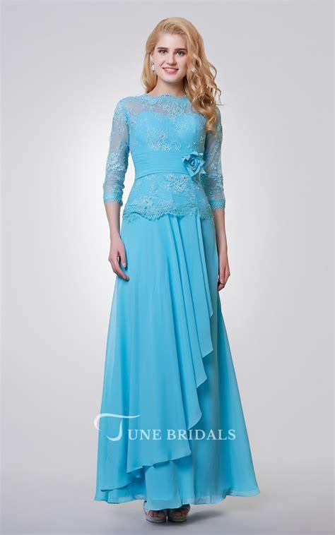length sleeve long chiffon  lace dress  side