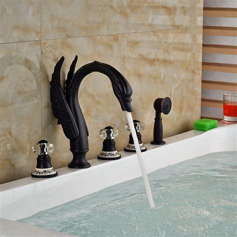 kanim swan shaped  hole oil rubbed bronze bath tub faucet