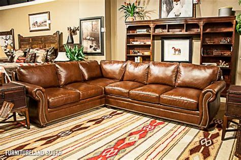 bradington young brown leather sectional  natural