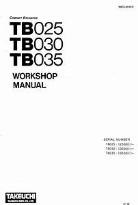Takeuchi Excavators Tb025  030  035 Workshop Manual Download