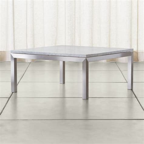 Parsons White Marble Top/ Stainless Steel Base 36x36