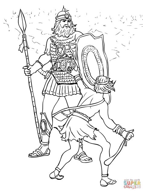david  goliath fight coloring page  printable