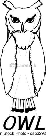 Hand draw a sketch in the style of an owl on a black white