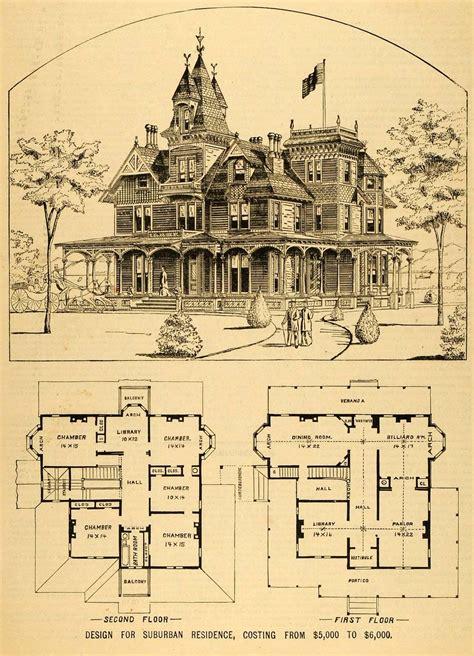 Viktorianisches Haus Grundriss by Vintage House Plans 1879 Print House