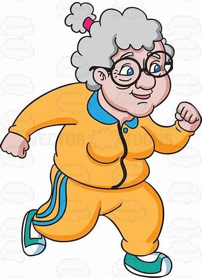 Grandma Running Clipart Funky Cartoon Hair Curly