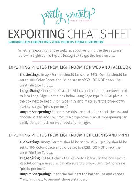 exporting cheat sheet   frequently asked