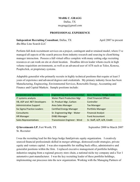 Technical Recruiter Resume Template by Resume Exle 57 Recruiter Resume Sle Recruiter