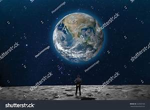 Businessman On The Moon Looking At The Earth Planet ...