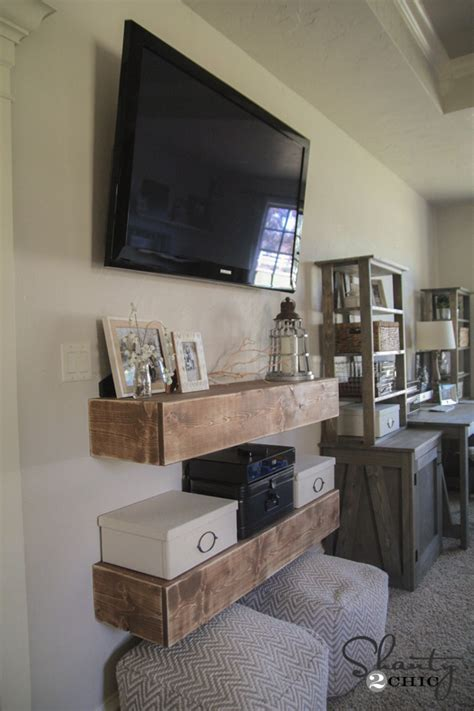 diy media shelves shanty  chic
