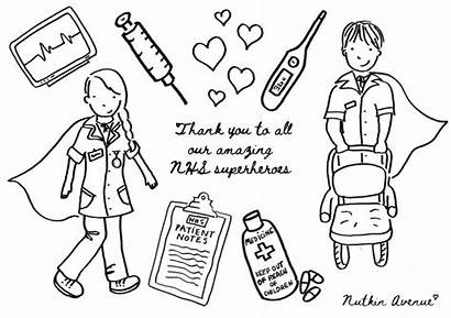 Nhs Thank Colouring Sheets Key Workers Colour