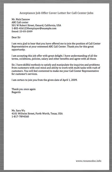 sample acceptance job offer cover letter