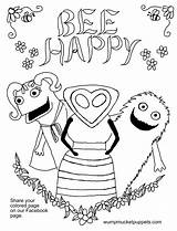 Coloring Pages Puppets Bee Happy Neeley Mark Mucket Wump Guest Visit Artist Fun sketch template