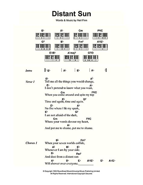 Distant Sun Sheet Music By Crowded House (lyrics & Piano
