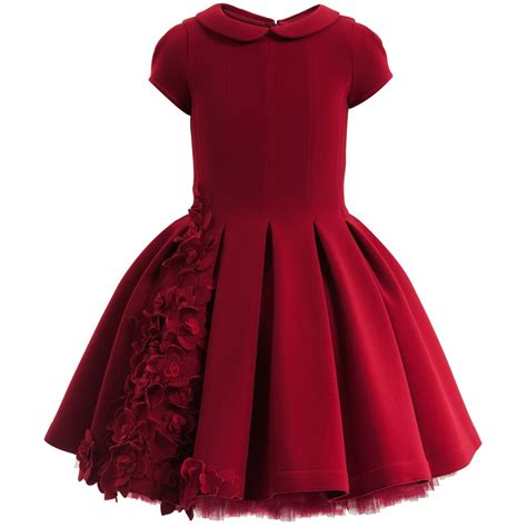 Monnalisa Chic - Red Neoprene Couture Dress with Flowers | Childrensalon