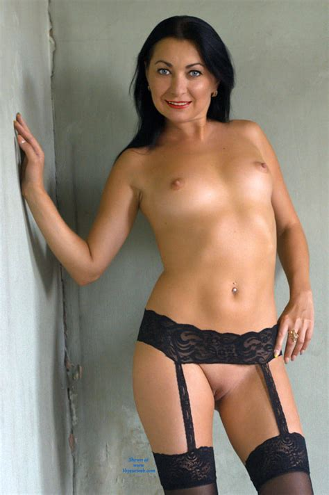 Naked Brunette In Black Lingerie August Voyeur