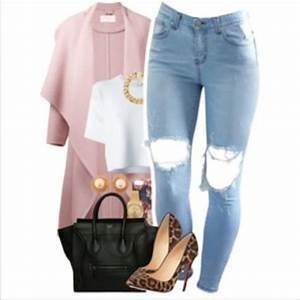 Coat pink jeans ripped jeans heels red bottom leopard print cheetah heels denim ripped ...