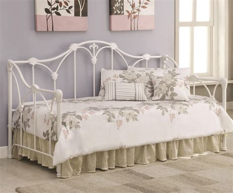 floral white frame daybed  coaster