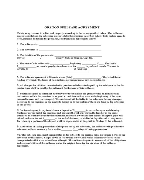 oregon sublease agreement template edit fill sign