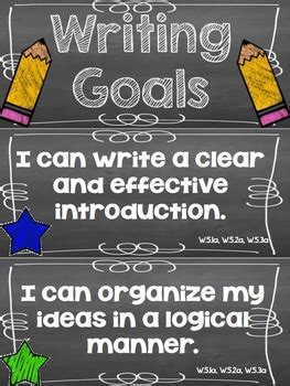 writing goals clip chart  grade  rundes room tpt