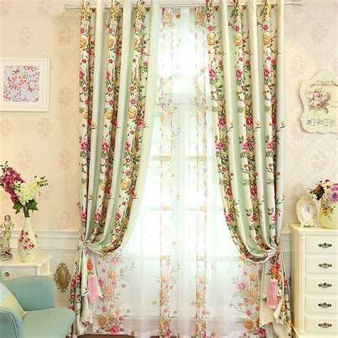 floral shabby chic curtains sage green floral print polyester beautiful shabby chic curtains